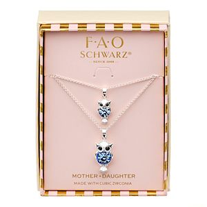 FAO Schwarz Plated Owl Pendant with Glass Stone Necklace Set