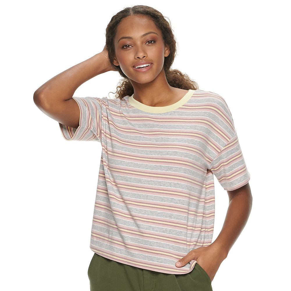 Juniors' Pink Republic Drop Shoulder Scoopneck Ringer Tee