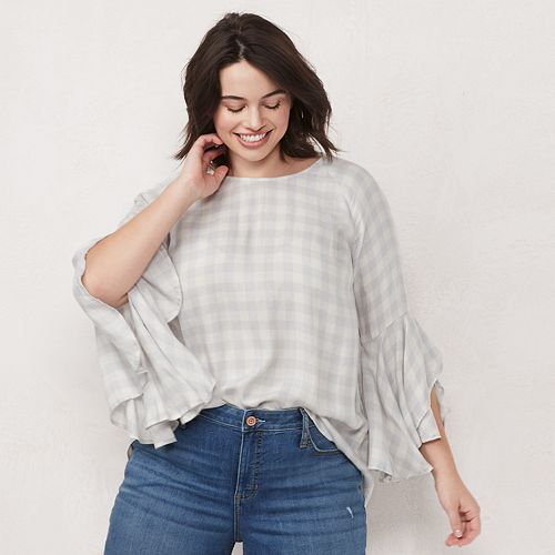 Plus Size LC Lauren Conrad Petal Sleeve Blouse