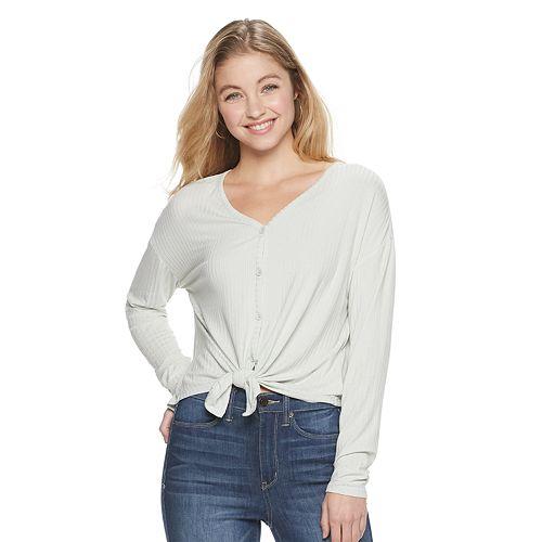 Juniors' Mudd® Long Sleeve Button Up Top