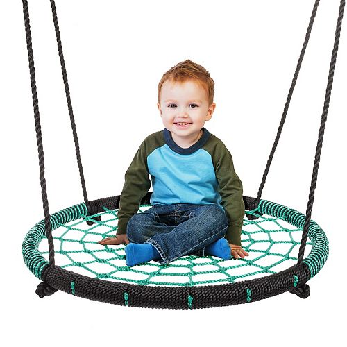 Hey! Play! Spider Web 40-inch Diameter Hanging Tree Rope Saucer Seat