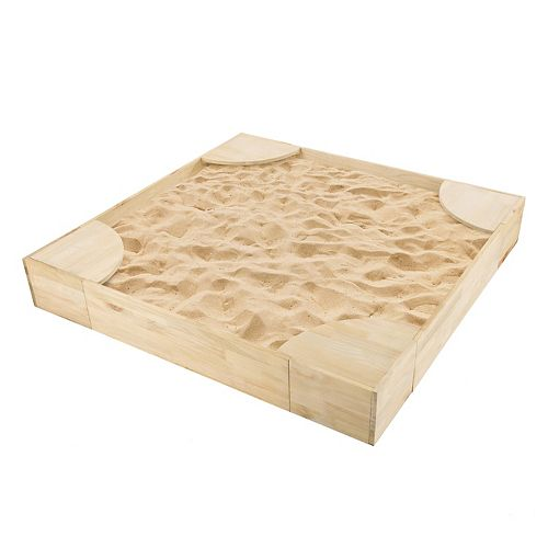 Hey! Play! Wooden Sandbox with Built-In Seating