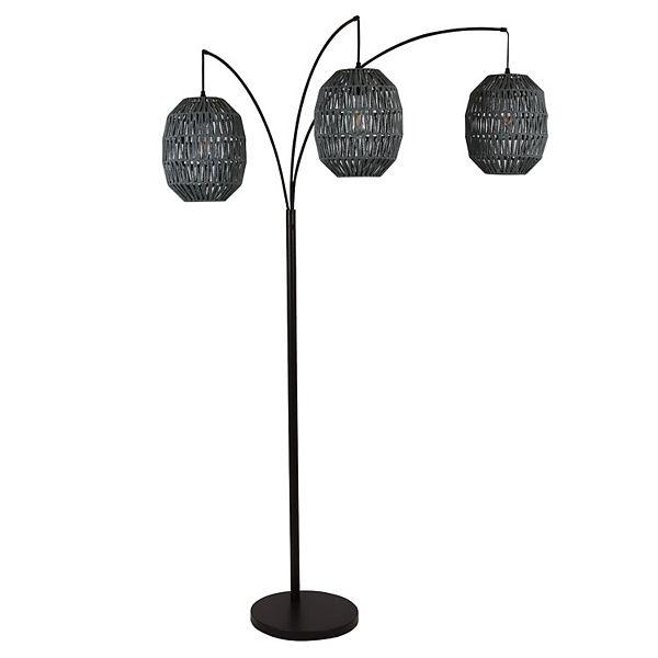 "75"" 3 Light Laurette Floor Lamp Black - Decor Therapy"