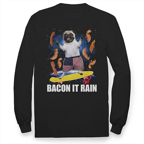 "Boys 8-20 ""Bacon It Rain"" Pug Skateboarding Graphic Tee"
