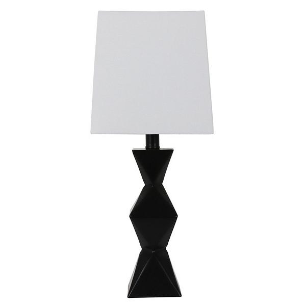 Decor Therapy Knox 20.5 in. Satin Black Stacked Diamond Table Lamp with Linen Shade