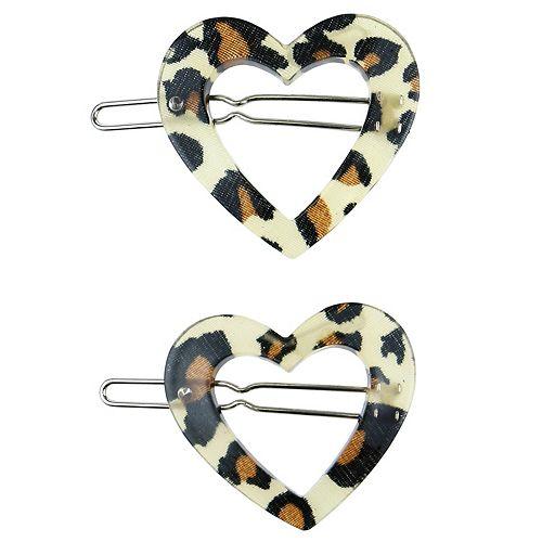 SO® 2-pk Heart-Shaped Leopard Print Barrettes