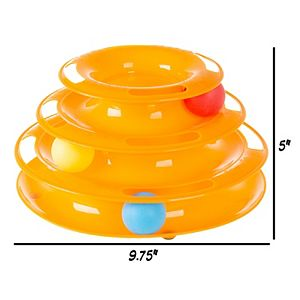 PetMaker Interactive Cat Toy Ball Tower - 3 Tier Round Track