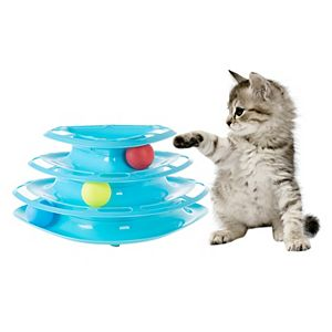 PetMaker Interactive Cat Toy Ball Tower - 3 Tier Triangle