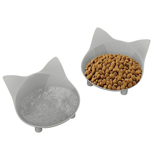 PetMaker Elevated Cat Shape Feeding Dishes