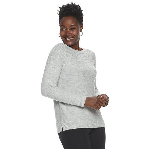 Petite Croft & Barrow® Lurex Cable-Knit Sweater