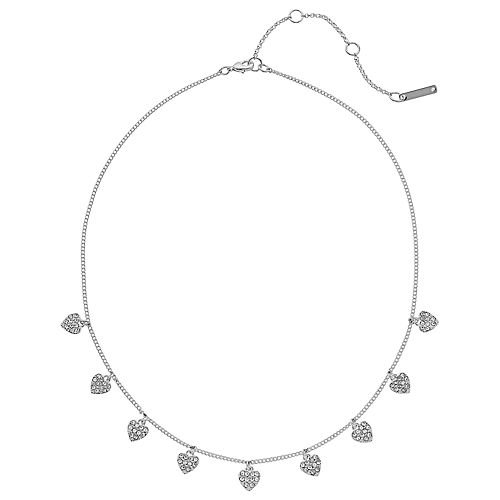 Nine West Silver Tone Simulated Crystal Heart Charm Necklace
