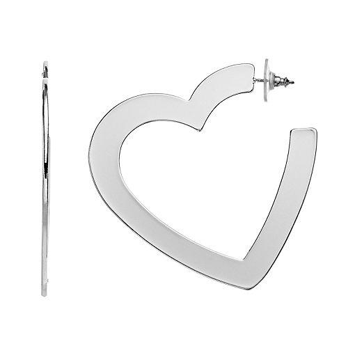 Nine West Silver Tone Flat Heart Hoop Earrings