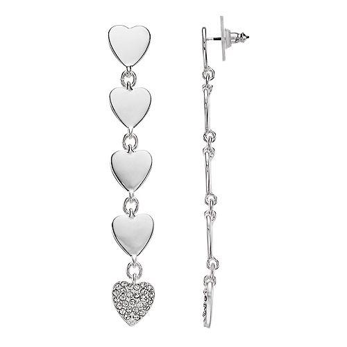 Nine West Silver Tone Simulated Crystal Heart Linear Drop Earrings