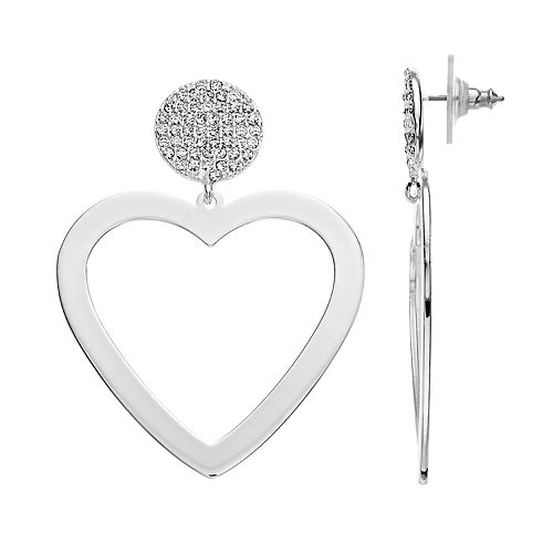 Nine West Silver Tone Simulated Crystal Heart Drop Earrings