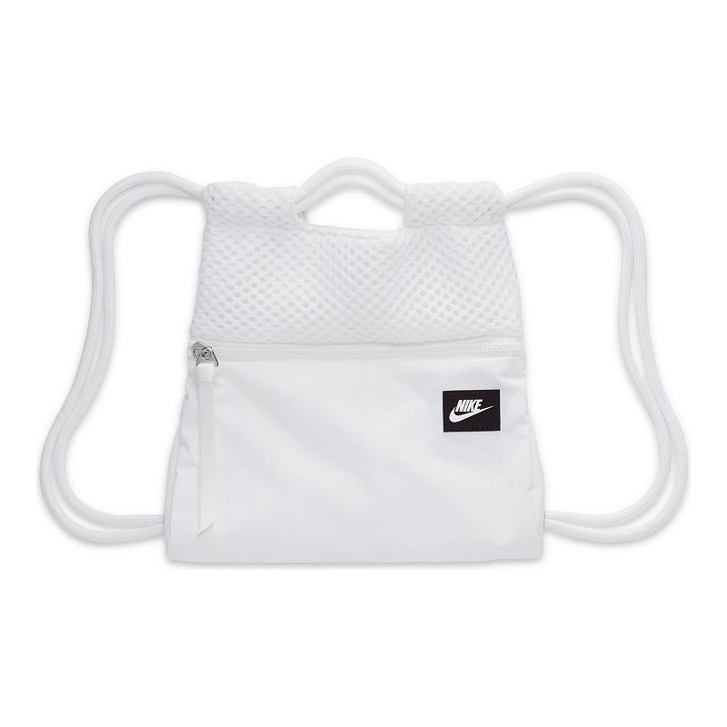 Nike delivers sporty, functional style with this gym bag. Nike delivers sporty, functional style with this gym bag. Zippered compartment lets you store small items like your phone, keys or ID Draw cord top closure provides secure storage Minimal, lightweight design Polyester Imported Size: One Size. Color: White. Gender: unisex. Age Group: adult.