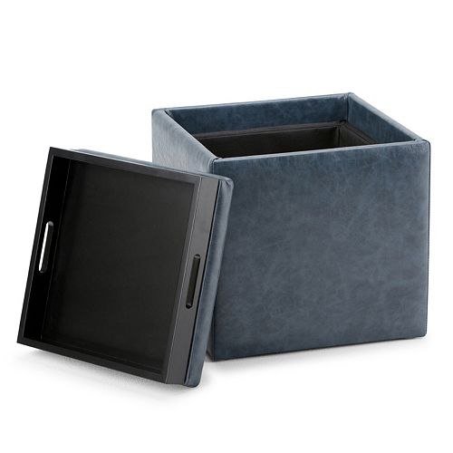 Simpli Home Rockwood Square Cube Storage Ottoman with Tray