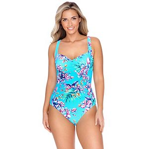 Women's Croft & Barrow Shirred Tummy Control One-Piece Swimsuit