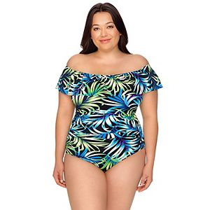 Women's Croft & Barrow Off-the-Shoulder Tummy Slimming One-Piece Swimsuit