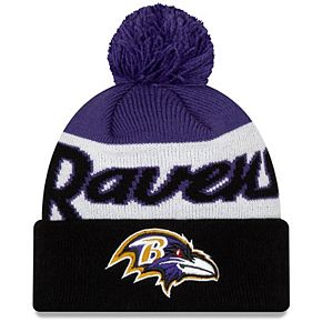 Youth New Era White/Black Baltimore Ravens Script Cuffed Knit Hat with Pom