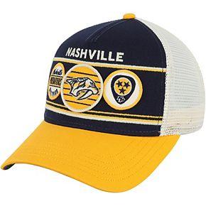 Men's American Needle Navy/Gold Nashville Predators Domino Adjustable Trucker Hat