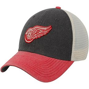 Men's American Needle Black/Red Detroit Red Wings Hanover Unstructured Adjustable Hat