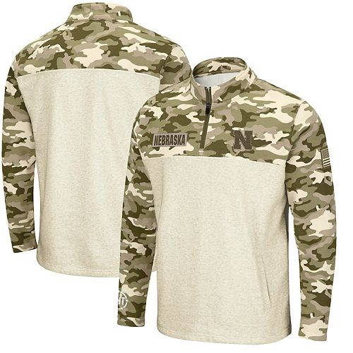 Men's Colosseum Oatmeal Nebraska Cornhuskers OHT Military Appreciation Desert Camo Quarter-Zip Pullover Jacket