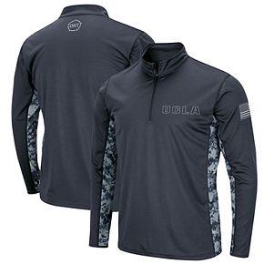 Men's Colosseum Charcoal UCLA Bruins OHT Military Appreciation Digital Camo Quarter-Zip Pullover Jacket