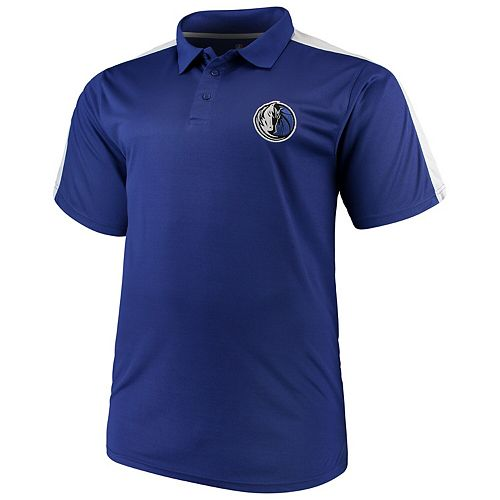 Men's Majestic Blue/White Dallas Mavericks Big & Tall Birdseye Polo