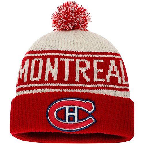 Men's Fanatics Branded White Montreal Canadiens True Classic Z Route Cuffed Knit Hat with Pom