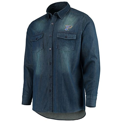 Men's Antigua Denim St. Louis Blues Outlook Long Sleeve Button-Up Shirt