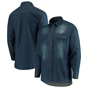 Men's Antigua Denim St. Louis Blues Outlook Long Sleeve Button-Up Shirt