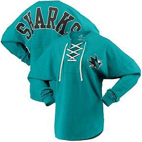 Women's Fanatics Branded Teal San Jose Sharks Lace Up Long Sleeve Spirit T-Shirt