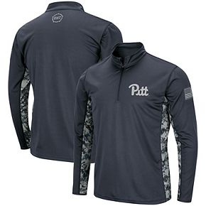 Men's Colosseum Charcoal Pitt Panthers OHT Military Appreciation Digital Camo Quarter-Zip Pullover Jacket