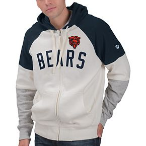 Men's Hands High White/Navy Chicago Bears Point Check French Terry Raglan Full-Zip Hoodie