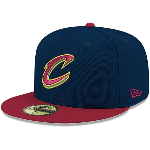 Men's New Era Navy/Wine Cleveland Cavaliers Official Team Color 2-Tone 59FIFTY Fitted Hat