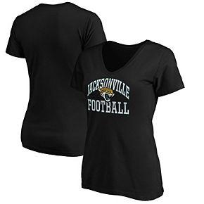 Women's Majestic Black Jacksonville Jaguars Showtime Franchise Fit V-Neck T-Shirt