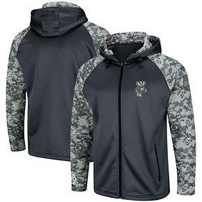 Men's Colosseum Charcoal/Camo Wisconsin Badgers OHT Military Appreciation Digi Camo Raglan Full-Zip Hoodie