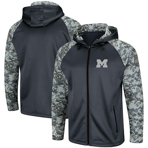 Men's Colosseum Charcoal/Camo Michigan Wolverines OHT Military Appreciation Digi Camo Raglan Full-Zip Hoodie