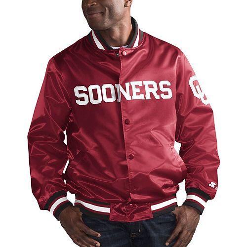 Men's Starter Crimson Oklahoma Sooners O-Line Varsity Full-Button Satin Jacket