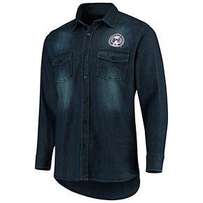 Men's Antigua Denim Columbus Blue Jackets Outlook Long Sleeve Button-Up Shirt