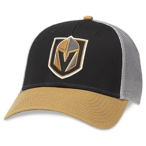 Men's American Needle Black/Gold Vegas Golden Knights Roughage Trucker Adjustable Hat