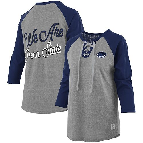Women's Pressbox Heathered Gray/Navy Penn State Nittany Lions Two-Hit Lace-Up Raglan Long Sleeve T-Shirt