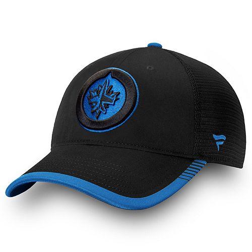 Men's Fanatics Branded Black Winnipeg Jets Iconic Team Pop Trucker Adjustable Snapback Hat