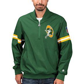 Men's Starter Green Green Bay Packers Throwback Jet Half-Zip Pullover Jacket