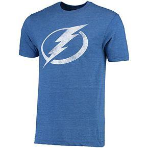 Men's Rinkside Blue Tampa Bay Lightning Distressed Throwback Logo Tri-Blend T-Shirt