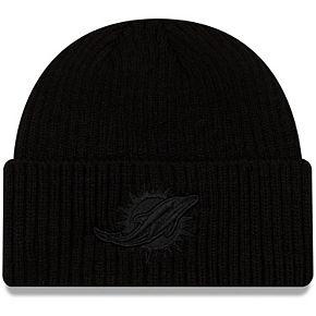 Men's New Era Black Miami Dolphins Core Classic Cuffed Knit Hat