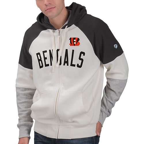Men's Hands High White/Black Cincinnati Bengals Point Check French Terry Raglan Full-Zip Hoodie