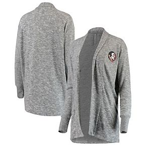 Women's chicka-d Heathered Gray Florida State Seminoles Supersoft Cozy Fleece Campus Tri-Blend Cardigan Sweater