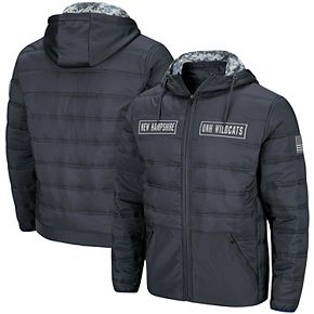 Men's Colosseum Charcoal New Hampshire Wildcats OHT Military Appreciation Full-Zip Puffer Jacket
