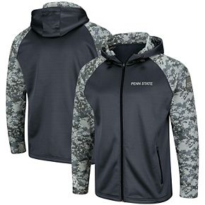 Men's Colosseum Charcoal/Camo Penn State Nittany Lions OHT Military Appreciation Digi Camo Raglan Full-Zip Hoodie
